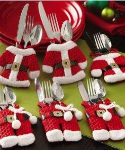 Santa Claus Silverware Holders Pockets Dinner Decor