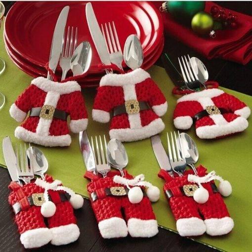 Santa Claus Silverware Holders Pockets Dinner Decor