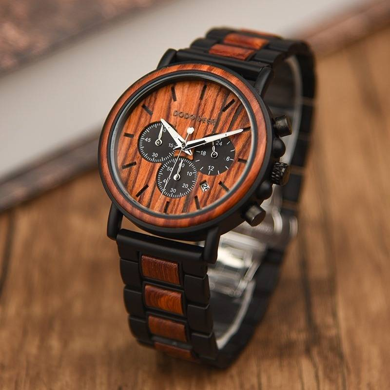 Stainless Steel And Wood Band Timepiece with Stopwatch Functional