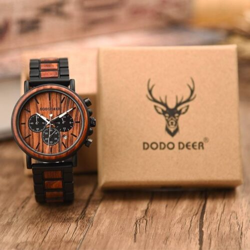 Stopwatch Functional Wood Band Watch
