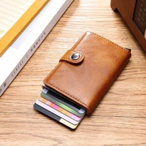 Men's Leather Card Holder Slim Money Clip Front Pocket Wallet