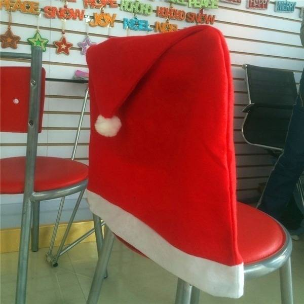 Santa Clause Red Hat Chair Back Cover