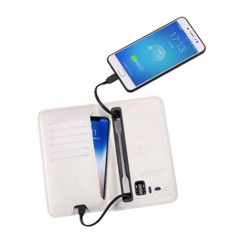 Phone Power Bank Men's Leather Wallet Card Slots Wallet