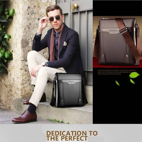 Men Shoulder Leather Bag Vacation Travel Work Bag