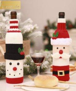 Wine Bottle Cover Santa Snowman