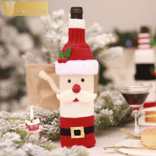 Wine Bottle Cover Santa Snowman