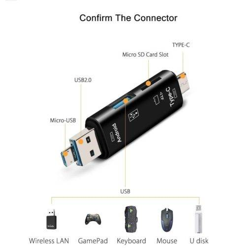 5 In 1 Micro Usb Tf Memory Card Reader Adapter