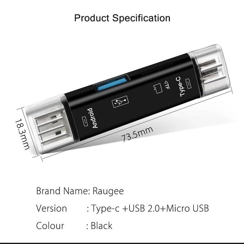 5 In 1 Usb /Micro Usb/Tf Memory Card Reader & Card Reader Adapter