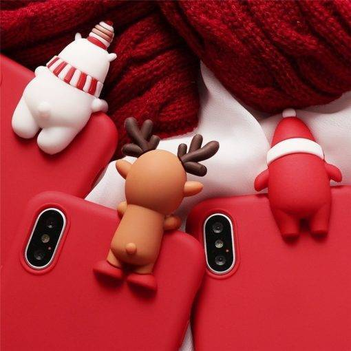 3D Christmas Ornaments Deer Bear Phone Cover