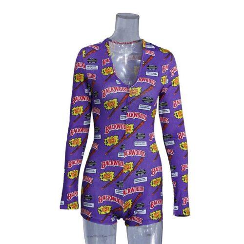Bodysuit Long Sleeve Deep V Neck Bodycon – Short Romper Pajamas Overalls for women
