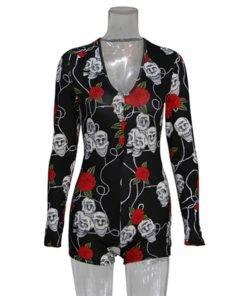 H6f09b1e8b62e41f6a66d3e4554784b2aA Bodysuit Long Sleeve Deep V Neck Bodycon - Short Romper Pajamas Overalls for women