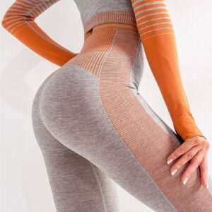 High Waist  Sport Workout Tights  Striped Running Gym Fitness Yoga Tight