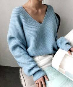 V-Neck  Autumn Winter Women's Sweater