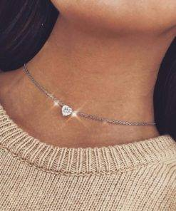 Moon Star Crystal Heart Necklace For Women