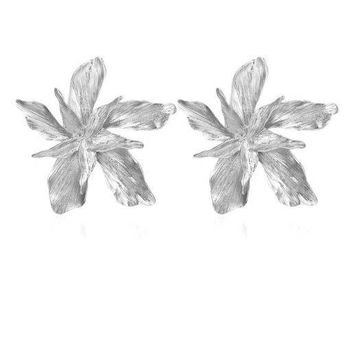 Silver Gold Big Flower Drop Dangle Earring for Women