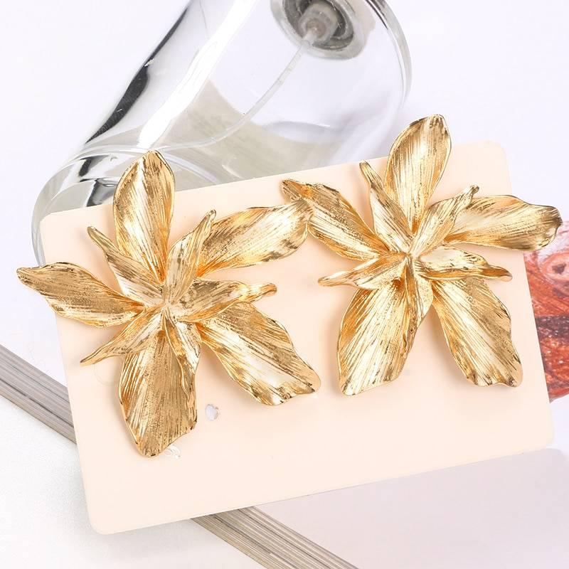 Silver Gold Big Flower Drop Dangle Earring for Women