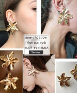 HTB1mzJgaHr1gK0jSZFDq6z9yVXaw Silver Gold Big Flower Drop Dangle Earring for Women