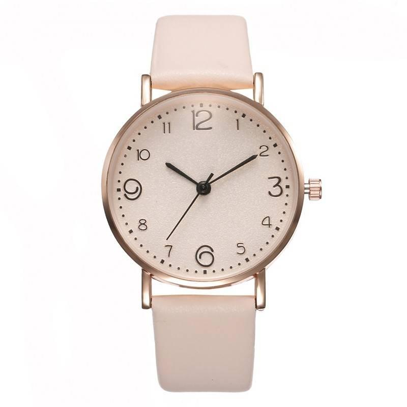 Luxury Leather Band Analog Quartz Watch For Women
