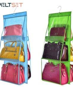 6 Pocket Hanging Handbag Organizer for Wardrobe & Bathroom