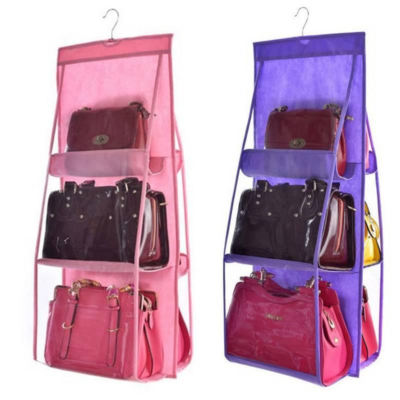 6 Pocket Hanging Handbag Organizer for Wardrobe & Bathroom