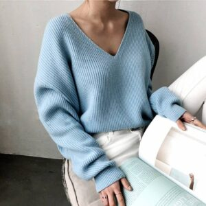 V-Neck  Autumn Winter Women's Sweater
