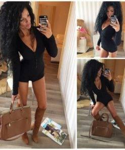 Hc5292eda14cf41acb14b87a0176dca8bi Bodysuit Long Sleeve Deep V Neck Bodycon - Short Romper Pajamas Overalls for women