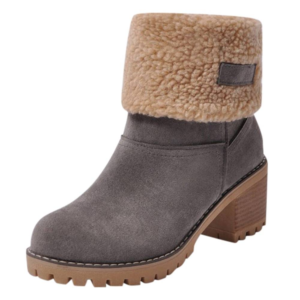 Premium Women Suede Ankle Boots – Snow Chunky