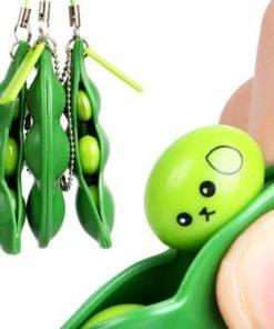 Squeeze Edamame Bean Pea Expression Keychain