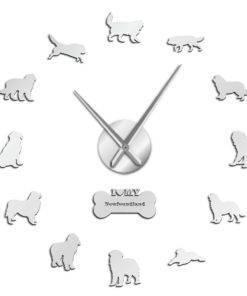 HTB18KEXbQxz61VjSZFtq6yDSVXaC Dog Breed 3D Mirror Effect DIY Wall Clock