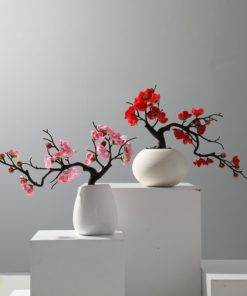 1pcs Red Plum Blossom Branches Artificial Flowers for Outdoor Wedding Decoration Flower Winter Plant Home Garden 1 Plum Blossom Tree - Red Wedding Flowers