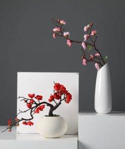 1pcs Red Plum Blossom Branches Artificial Flowers for Outdoor Wedding Decoration Flower Winter Plant Home Garden 2 Plum Blossom Tree - Red Wedding Flowers