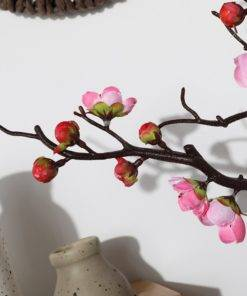 1pcs Red Plum Blossom Branches Artificial Flowers for Outdoor Wedding Decoration Flower Winter Plant Home Garden 4 Plum Blossom Tree - Red Wedding Flowers