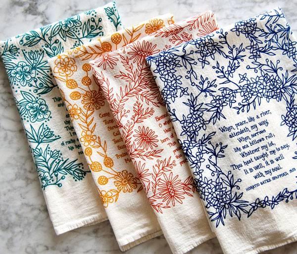 4 Hymn Tea Towels Set