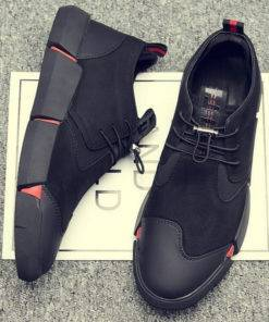 Black Men's leather casual shoes
