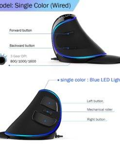 Delux M618 PLUS Ergonomics Vertical Gaming Mouse 6 Buttons 4000 DPI RGB Wired Wireless Right Hand 3 Wireless Vertical Gaming Mouse