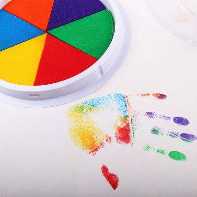 Funny 6 Colors Ink Pad Stamp DIY Finger Painting Craft Cardmaking For Kids Montessori Drawing baby 5