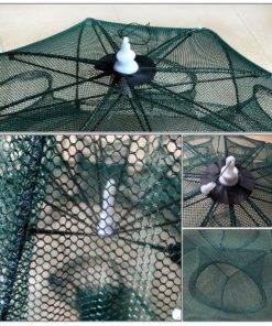 Strengthened 4 20 Holes Automatic Fishing Net Shrimp Cage Nylon Foldable Crab Fish Trap Cast Net 4 Umbrella Fish Trap - Fishing Net