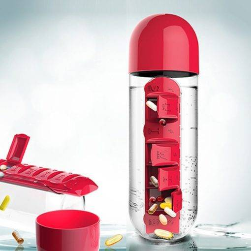 600 ML Water Bottle With Pill Organizer