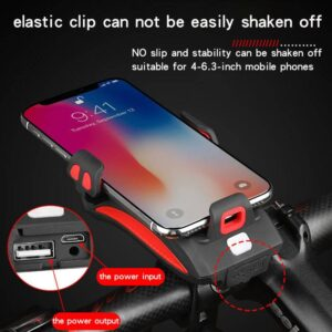 Multi-function Bicycle Light phone holder + flashlight +power bank