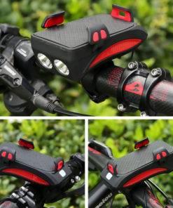 Multi function Bicycle Light USB Rechargeable LED Bike Head Lamp Bike Horn Phone Holder Powerbank 4 5 Multi-function Bicycle Light phone holder + flashlight +power bank