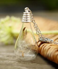 3PCS 31X18MM Real Moss in glass drop necklace Natural history specimen in a clear jar necklace 1 Glass Dandelion Wishing Necklace