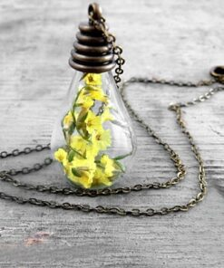 3PCS 31X18MM Real Moss in glass drop necklace Natural history specimen in a clear jar necklace 3 Glass Dandelion Wishing Necklace