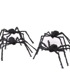 60cm 90cm 150cm 200cm size Practical Jokes Props Halloween Horrible Big Black Furry Fake Spider Creep 2 Scarry Black Spider Halloween Decoration