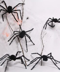 60cm 90cm 150cm 200cm size Practical Jokes Props Halloween Horrible Big Black Furry Fake Spider Creep 3 Scarry Black Spider Halloween Decoration