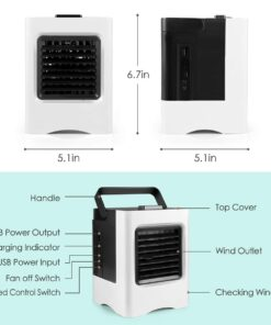 Air Conditioner Fan 4 in 1 Personal USB Air Cooler Mini Purifier Humidifier with LED Lights 1 4 in 1 High Power DESK AIR COOLER