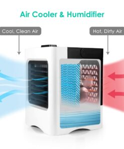 Air Conditioner Fan 4 in 1 Personal USB Air Cooler Mini Purifier Humidifier with LED Lights 4 4 in 1 High Power DESK AIR COOLER