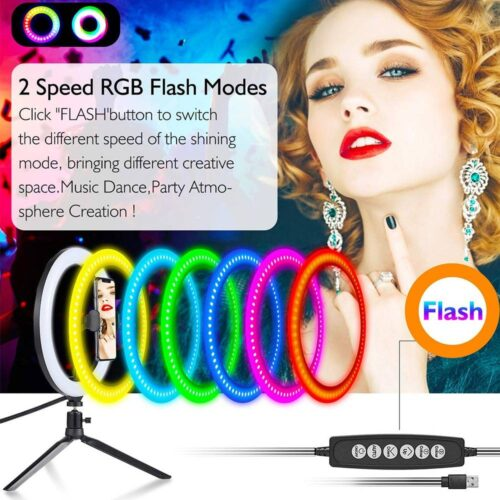 LED Colorful Dimmable Ring Light with Tripod