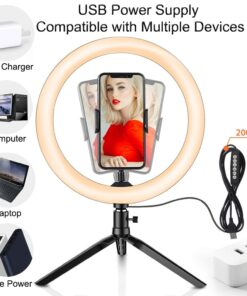 LED Colorful Dimmable Ring Light with Tripod USB Selfie Light Ring Lamp Big Photography Ringlight with 5 LED Colorful Dimmable Ring Light with Tripod