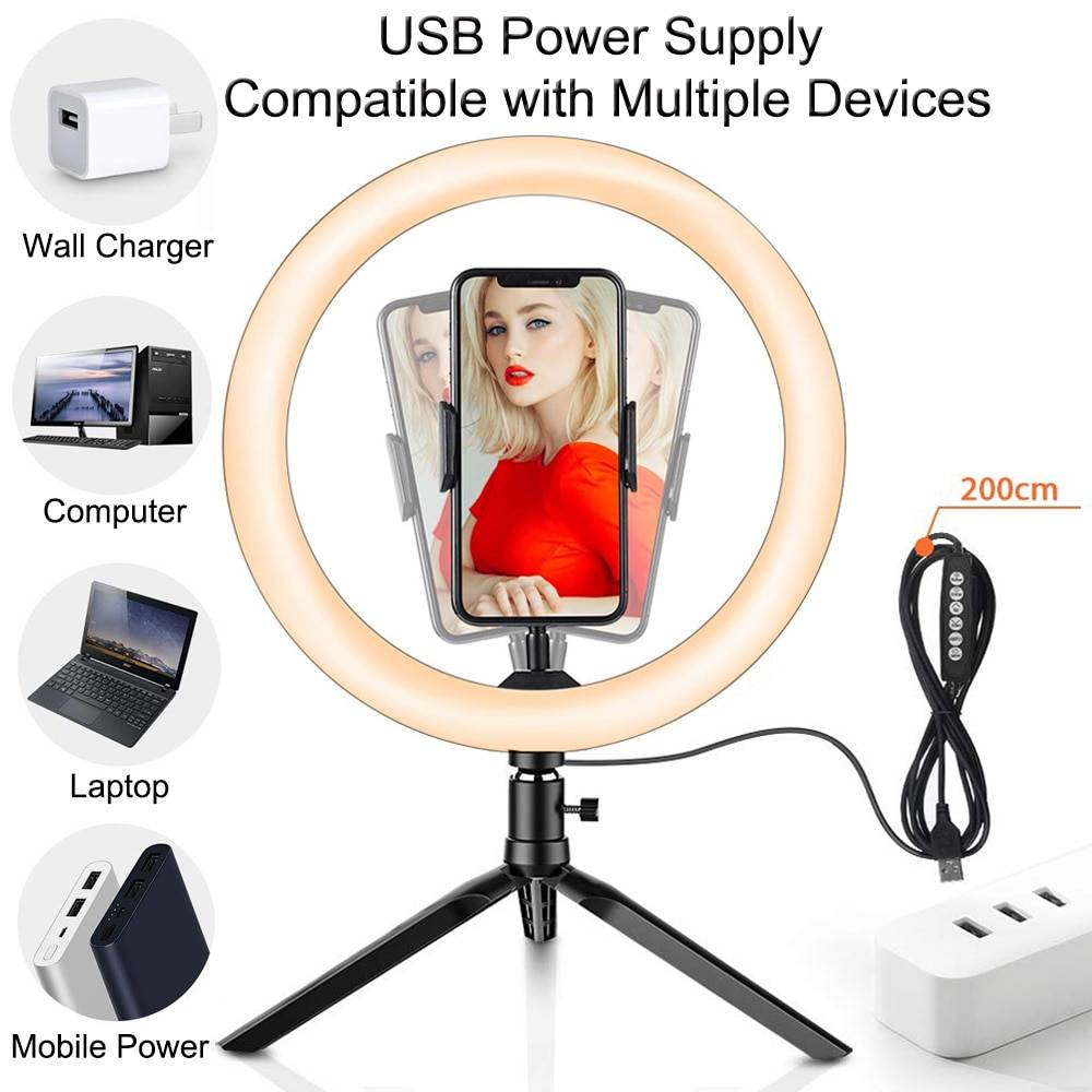 GKCD Remote Control dimmable Two-Color LED Fill Light with Mirror Adjustable Triangle Bracket and Mobile Phone Bracket Professional Makeup Studio Photography and Lighting kit,Red
