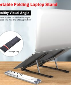 Laptop Stand Portable Heights Adjustable Aluminum AlloyDesktop Ventilated Cooling Holder Folding Ultra for MacBook 1 Portable Laptop Stand